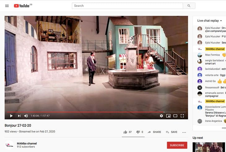 Screenshot of Bonjour (2015) by Ragnar Kjartansson performed at MAMbo and streamed live on 27 February 2020 on the museum's YouTube channel