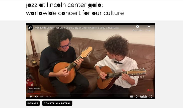 Screenshot of the 2020 Jazz at Lincoln Center Gala: Worldwide Concert for our Culture