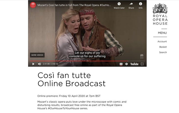 Screen shot of a video of Mozart's Così fan tutte on the Royal Opera House website