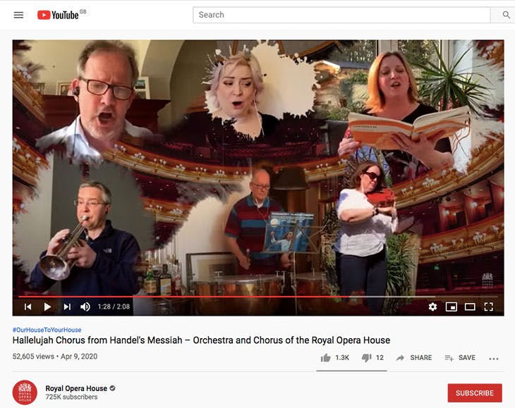 Screen shot of a video on the Royal Opera House's YouTube channel, in which the Royal Opera House Orchestra and Chorus perform the 'Hallelujah' chorus from Handel's Messiah
