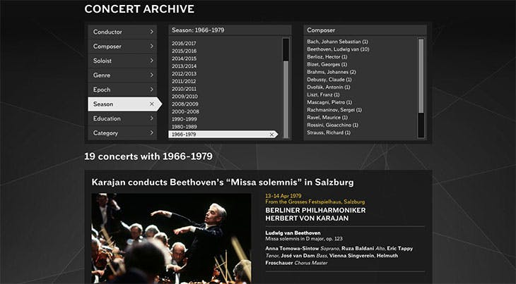 Screenshot showing the concert archive of the Digital Concert Hall