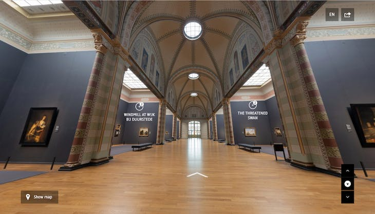 Screenshot looking down the virtual Gallery of Honour at the Rijksmuseum