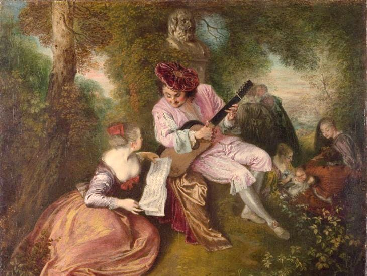 The Scale of Love (c. 1717–18), Antoine Watteau. National Gallery, London