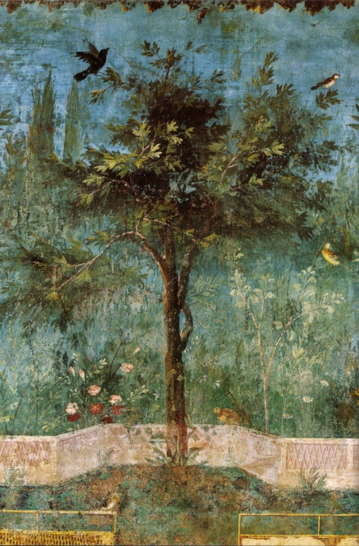 A wall painting in the underground garden of the Villa Livia.