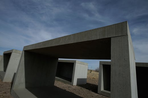 A view of '15 untitled works in concrete' by Donald Judd in Marfa, Texas, in 2012. Photo: Scott Halleran/Getty Images