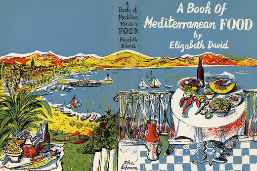 Wrap-around dust jacket designed by John Minton for Elizabeth David's A Book of Mediterranean Food (1950)