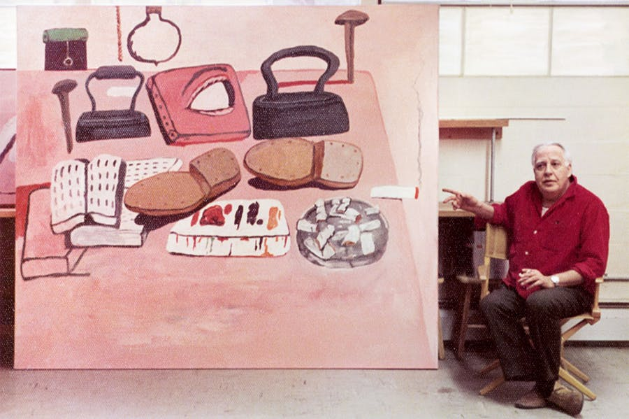 Guston in the studio with Painter's Table (1973).