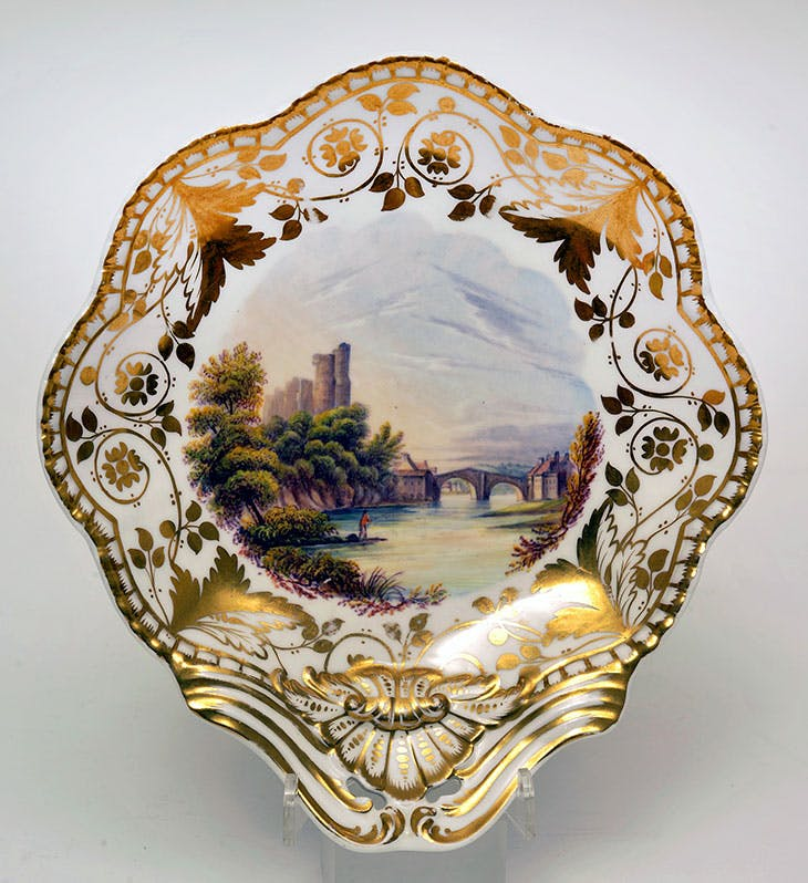 Dessert dish with view of Barnard Castle after Westall (c. 1830), Josiah Spode. The Bowes Museum, Barnard Castle