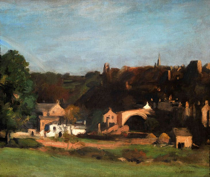 A View of Barnard Castle, Yorkshire, from the River with Carpet Mills (1896), Philip Wilson Steer. The Bowes Museum, Barnard Castle