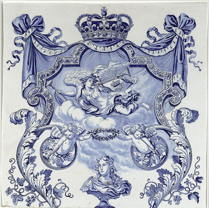 Wall plaque from the Water Gallery of Queen Mary II Stuart at Hampton Court Palace (c. 1690), Delft. Rijksmuseum, on loan from the Koninklijk Oudheidkundig Genootschap
