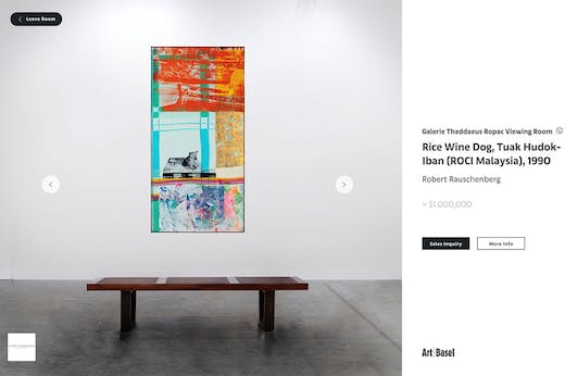 Screenshot of Galerie Thaddaeus Ropac's online viewing room at Art Basel Hong, March 2020.