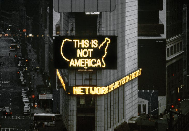 Still from a video documenting 'A Logo for America' (1987) by Alfredo Jaar in Times Square, New York.