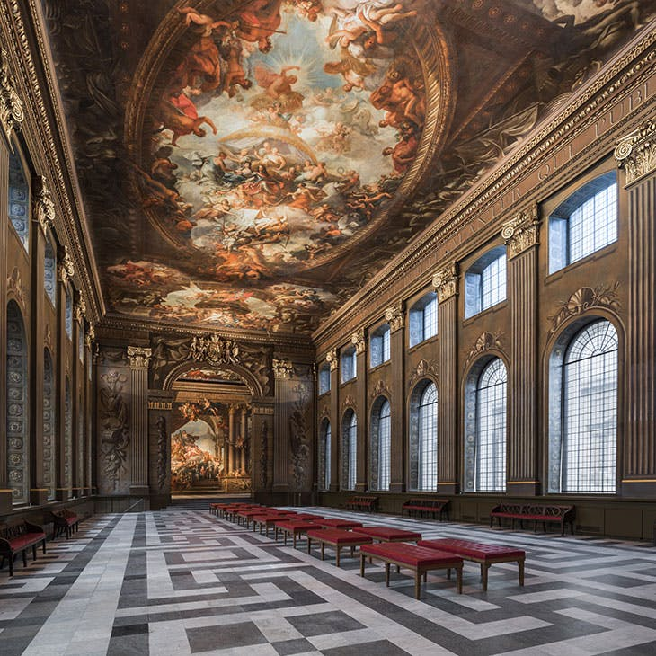 The Lower Hall of the Painted Hall at the Old Royal Naval College in Greenwich, London