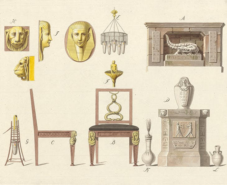 'In the Egyptian taste', plate two from Presentation and History of the Taste of the Leading Nations (1796–99) by Joseph Friedrich zu Racknitz.