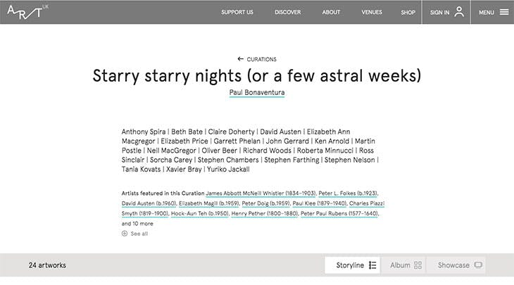Screenshot of 'Starry starry nights (or a few astral weeks)' curated by Paul Bonaventura using Art UK's Curations tool