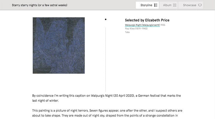 Screenshot showing the artist Elizabeth Price's selection, Paul Klee's Walpurgis Night (1935) from the Tate collection