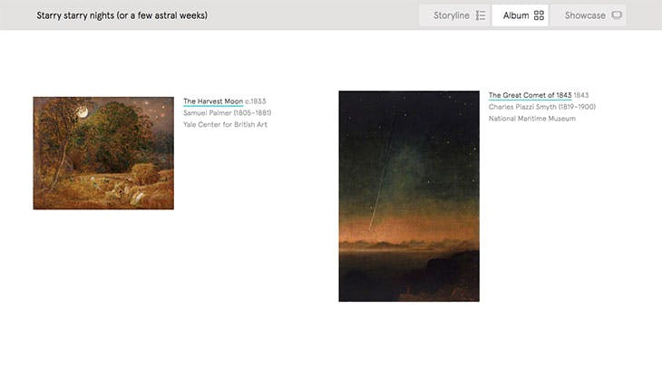 Screenshot showing 'Album' view on Art UK's new Curations tool (album created by the author)