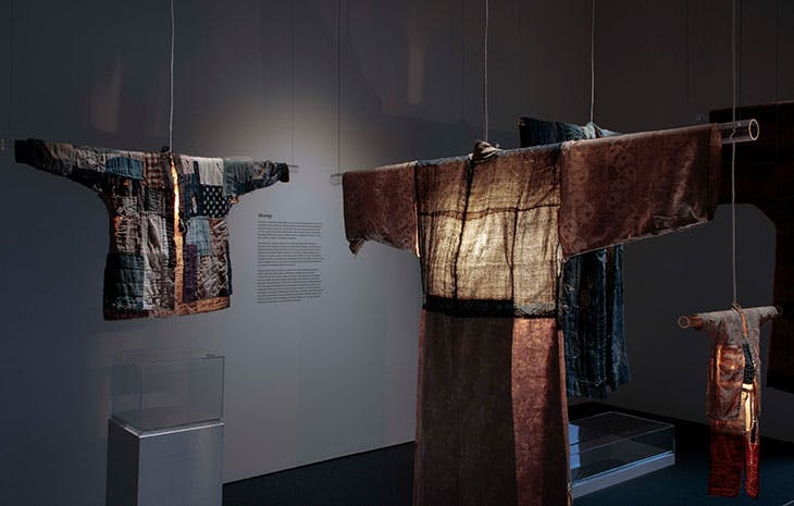 Installation view of 'Boro Textiles: Sustainable Aesthetics' at Japan Society Gallery, New York, 2020.