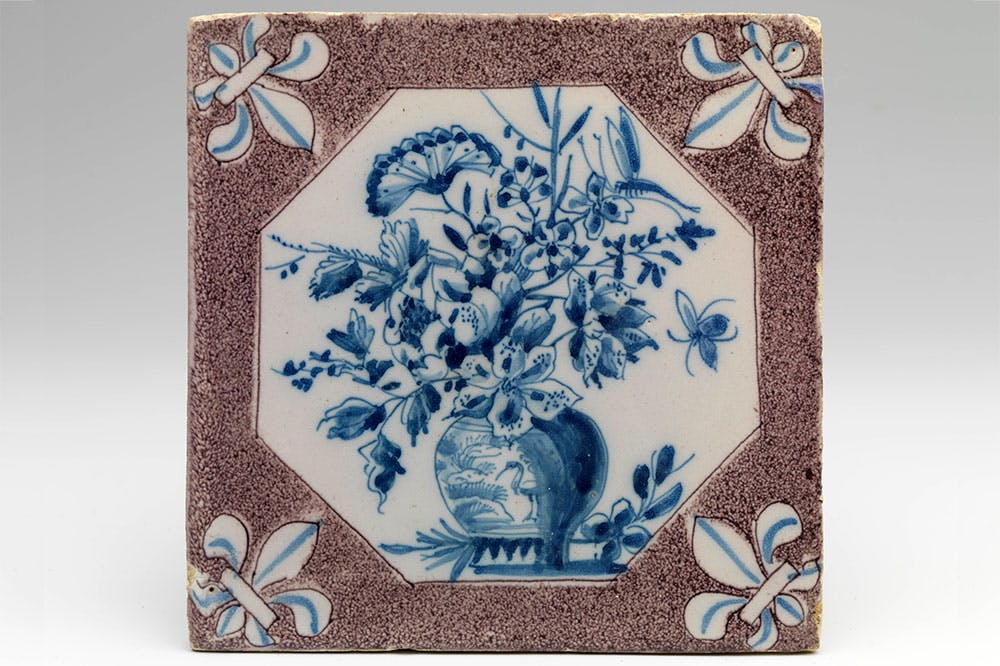 Tile from Princess Mary's kitchen apartment in Palace Het Loo, Rotterdam (c. 1685)