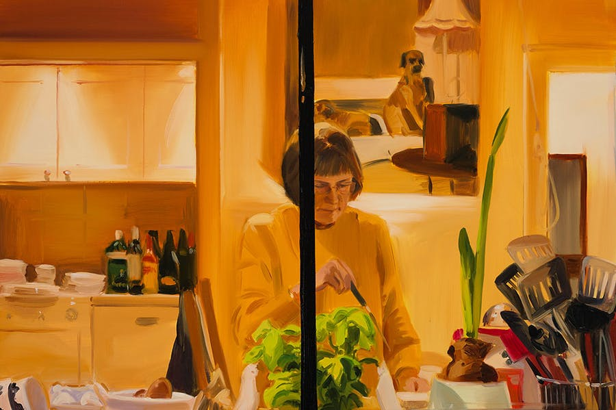 Making Fishcakes, Late Afternoon, December (detail; 2019), Caroline Walker.