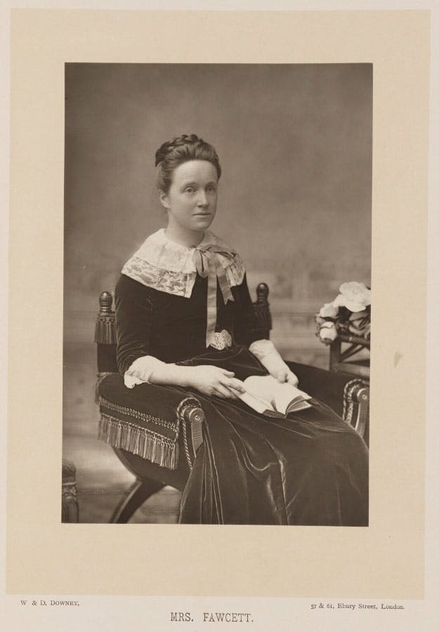 Photograph of Millicent Fawcett by W. & D. Downey, published by Cassell & Company, Ltd in 1890.