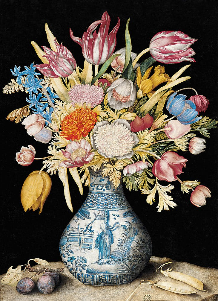 Chinese Vase with Tulips, Anemones, Daffodils, a Hyacinth, and a Calendula, with Two Plums and Two Pea Pods (c. 1650–1655), Giovanna Garzoni.