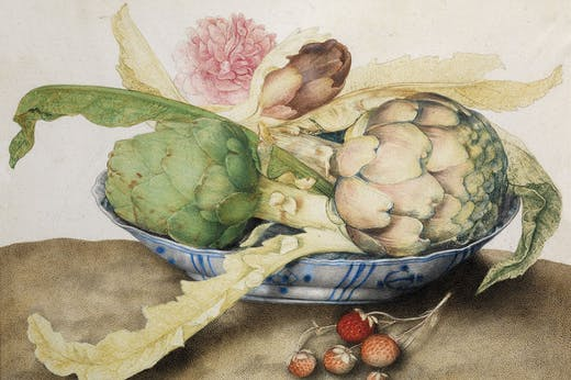Chinese dish with artichokes, rose and strawberries (c. 1655–62), Giovanna Garzoni. Galleria Palatina, Gallerie degli Uffizi, Florence