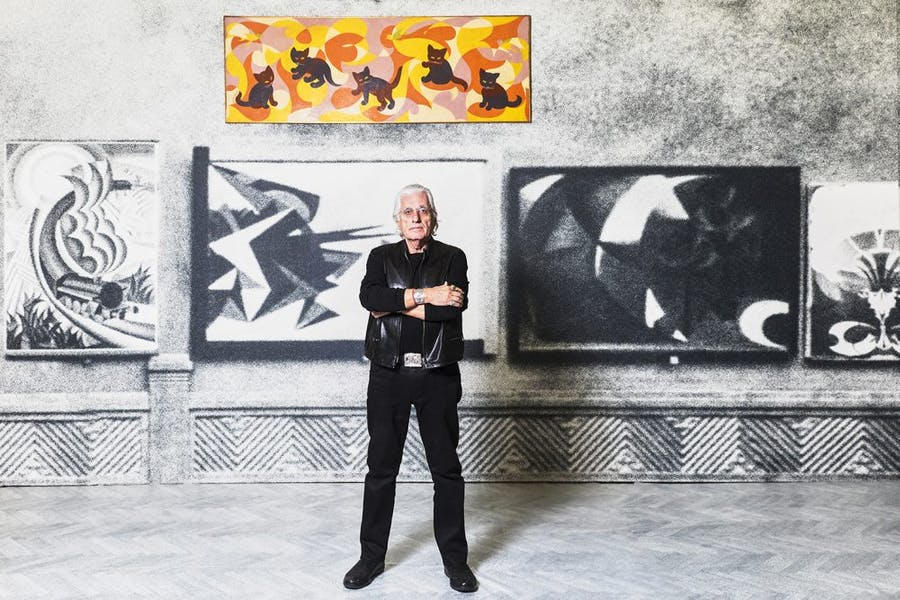 Germano Celant at 'Post Zang Tumb Tuum' at the Fondazione Prada in 2018. Photo: Ugo dalla Porta; courtesy Fondazione Prada