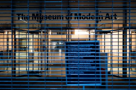 The closed Museum of Modern Art on March 17, 2020 in New York Citydistancing. (Photo by Johannes EISELE / AFP) (Photo by JOHANNES EISELE/AFP via Getty Images)