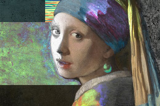 Composite image (detail) of Girl with a Pearl Earring from images made during the Girl in the Spotlight project.
