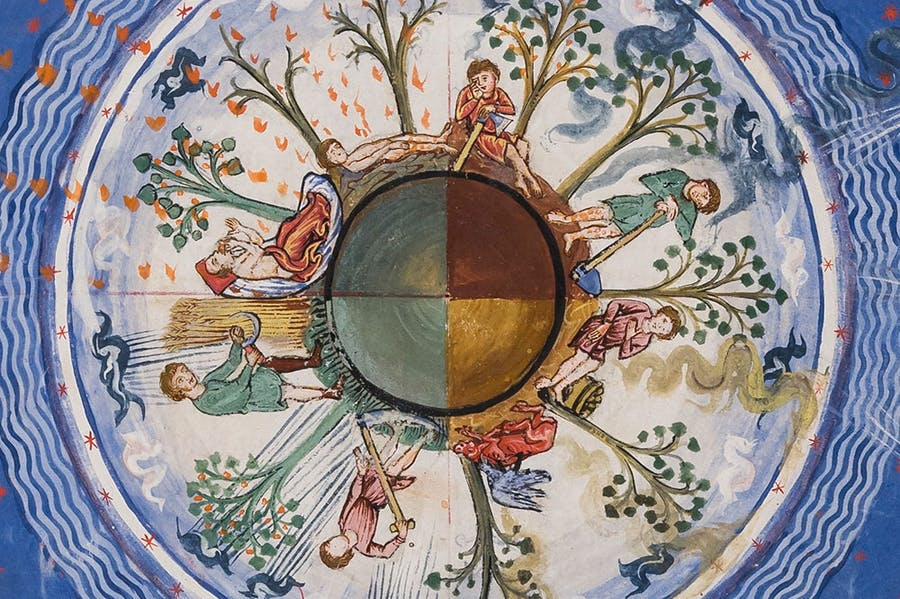 Liber Divinorum Operum (The Book of Divine Works) (detail; 13th century), Hildegarde von Bingen. By concession of the Ministry for Cultural Heritage and Activities - Lucca State Library