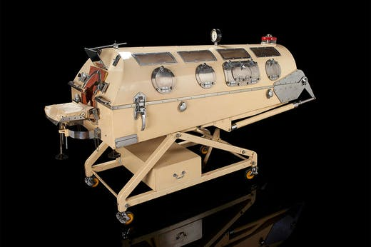 The Smith-Clarke Senior 'iron lung' from 1953, exhibited in the medicine galleries at the Science Museum, London.