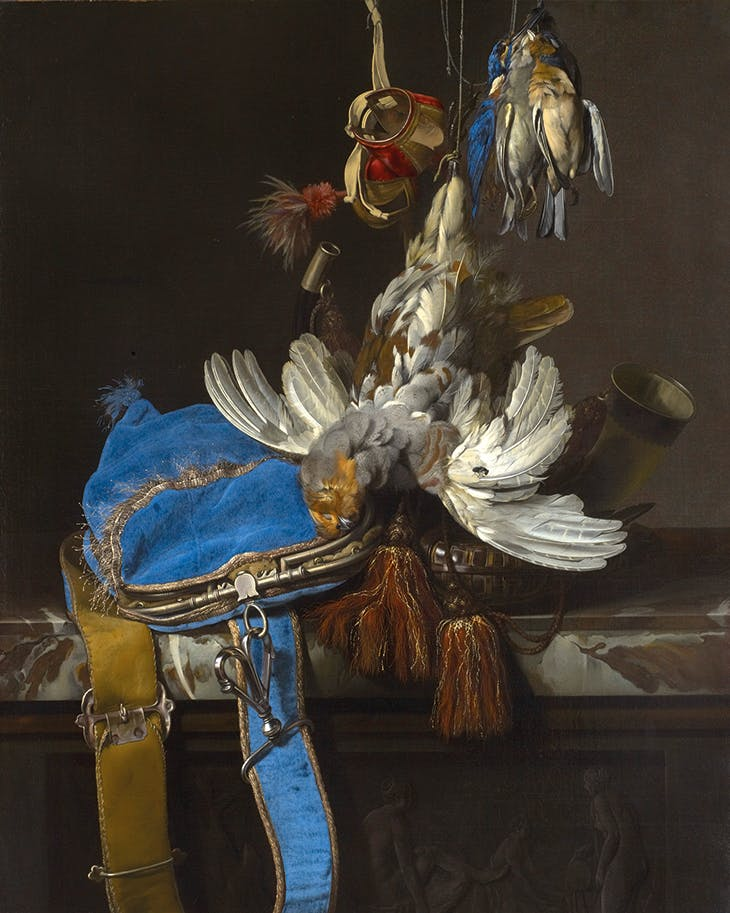 Hunt Still Life with a Velvet Bag on a Marble Ledge (c. 1665), Willem van Aelst. Museum of Fine Arts, Houston