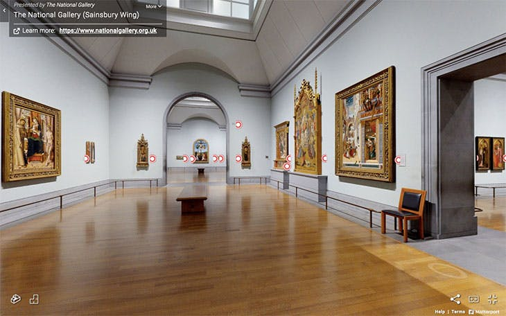 Screenshot of the virtual tour of the Sainsbury Wing at the National Gallery