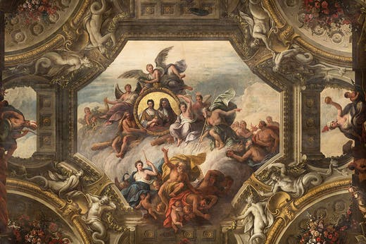 Detail of the ceiling of the Upper Hall, featuring portraits of Queen Anne and Prince George of Denmark