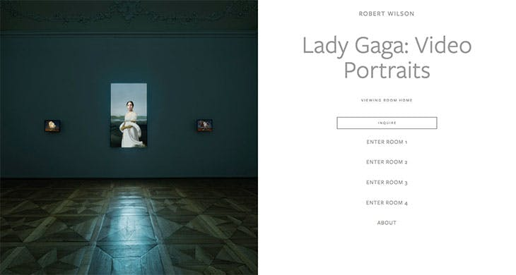 Screenshot of the viewing room for Robert Wilson's Lady Gaga video portrait