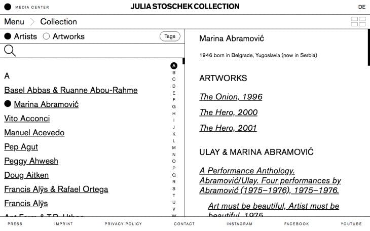 Screenshot of artist catalogue showing works by Marina Abramović