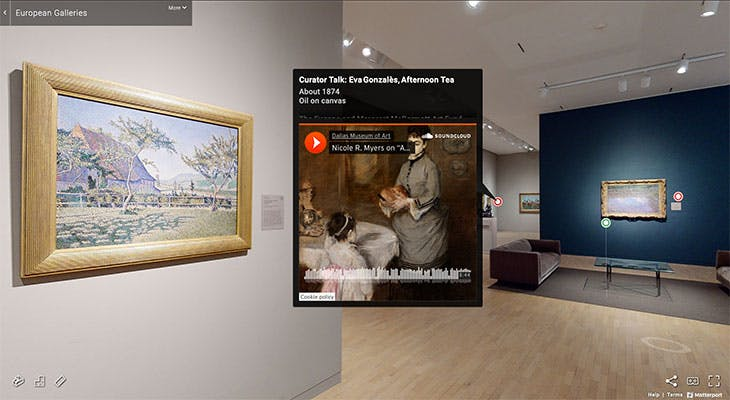 Screenshot showing a Curator Talk for 'Afternoon Tea' (1874), Eva Gonzalès in the European Galleries virtual tour