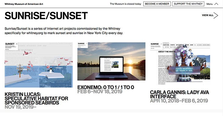 Screenshot of artport on www.whitney.org