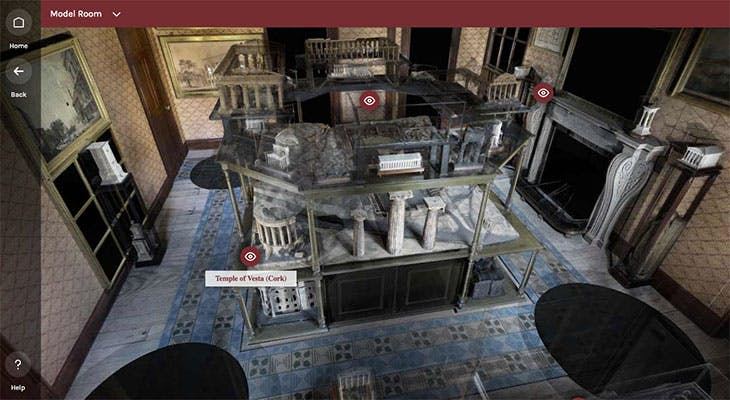 Screenshot of the Model Room in the 'Explore Soane' 3D tour