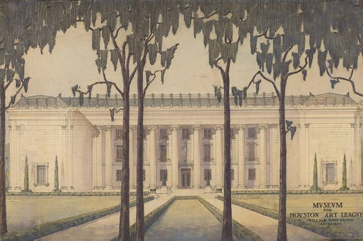 The south facade of the original building of the Museum of Fine Arts, Houston, which opened in 1924