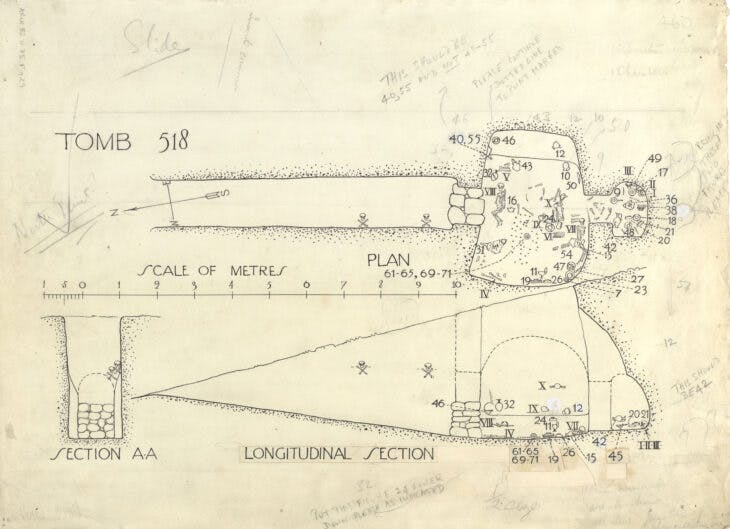 Plan and section drawing of Chamber Tomb 518, Mycenae (1922–23), unsigned.
