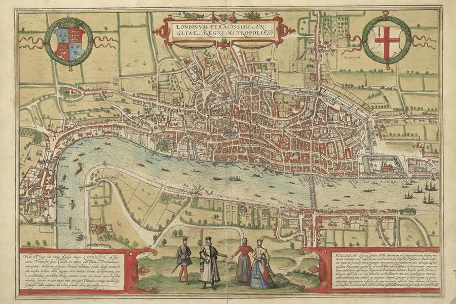 The earliest printed map of London, from Braun and Hogenbergh's Civitates Orbis Terrarum, drawn in c. 1560 (printed in 1572).