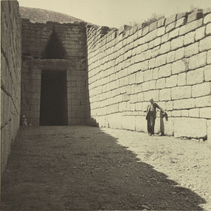 A.J.B. Wace standing in the dromos of the Treasury of Atreus, Mycenae, 9 September 1940.