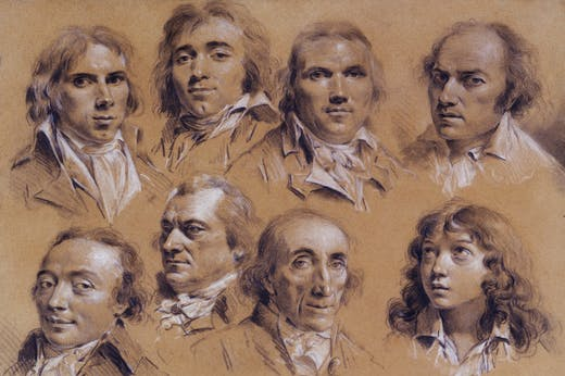 Sixteen heads of men (detail; 18th century), Louis-Léopold Boilly