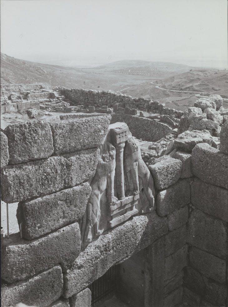 The Lion Gate, with view of Grave A beyond, Mycenae (1921), unknown photographer.