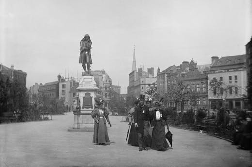 The statue of Edward Colston in Bristol, photographed in c. 1895–1900.