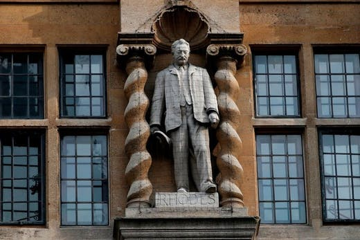 The statue of Cecil Rhodes outside Oriel College in Oxford, photographed in June 2020.