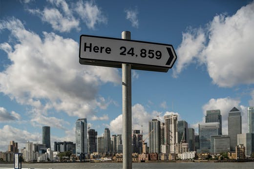 Installation view of Here (2013) by Thomson & Craighead on Greenwich Peninsula.