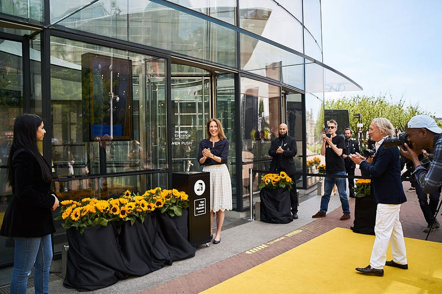 Emilie Gordenker outside the Van Gogh Museum in Amsterdam on 1 June, when the museum reopened.